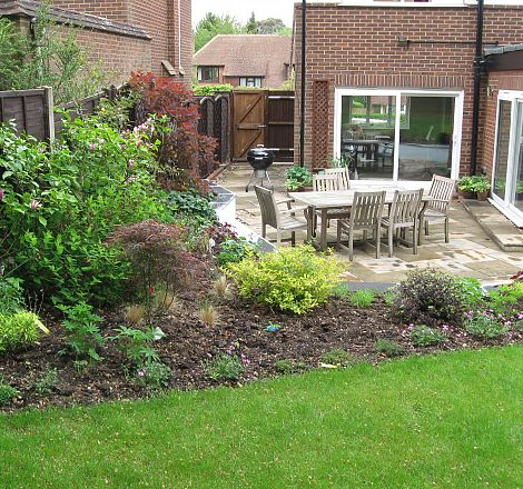 Back Garden Seating Area With Steps To Lawn Greenspace Garden Design